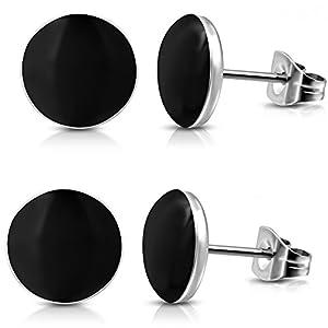 2 Paar Schwarze Ohrstecker 7mm breit – Edelstahl Ohrringe für Damen und Herren