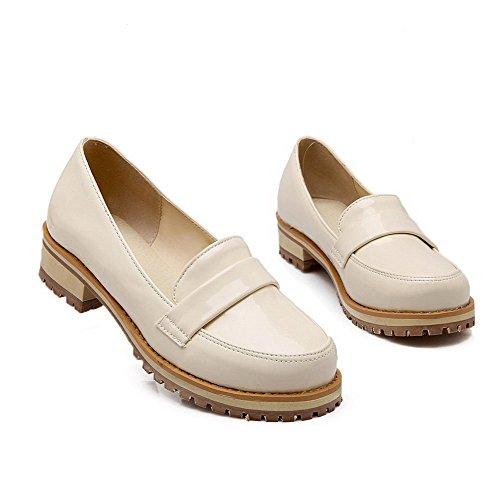 VogueZone009 Femme Tire Rond à Talon Bas Pu Cuir Couleur Unie Chaussures Légeres Beige