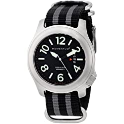 Momentum Steelix Men's Quartz Watch with Black Dial Analogue Display and Grey Nylon Strap 1M-SP74B7S