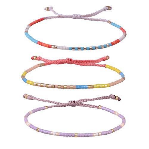 KELITCH Armband MischFarbe Rocailles Perlen Zart Schnur Freundschaftsarmbänder für Mädchen Damen - 3 Stück #20