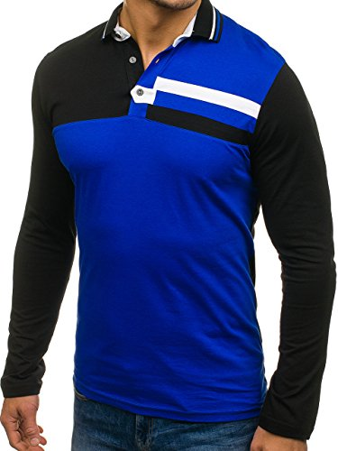 BOLF Herren Longsleeve Sweatshirt Langarm Pulli Figurbetont Farbwahl 1A1 MIX  Blau 0729 ... 28e4a7a104