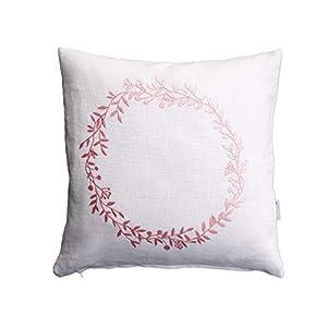 Blumenkranz Kissen, rosa Bestickung, weißes Leinen, 40×40, 45×45, 50×50 cm Hülle, Natur Motiv, Deko, Sofa, Garten