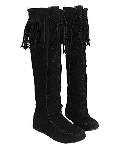 Minetom Damen Herbst Winter Elegant Lange Stiefel Beiläufig Flache Ferse Stiefel Quaste Schnüren Stiefel Schwarz EU 41