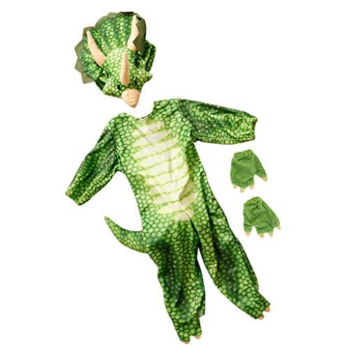 P PRETTYIA Kinder Cosplay Dinosaurier Kostüm Set inkl. T-Rex Jumpsuit + Kopf Dekoration + Handschuhe - - Trex Dinosaurier Kind Kostüm