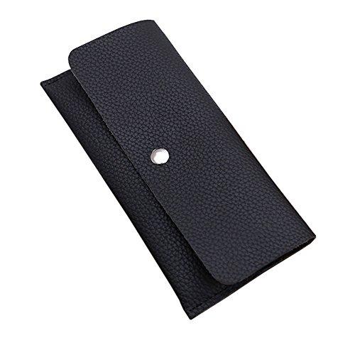 Portafoglio di cuoio dell'unità di elaborazione delle borse della borsa di lusso della borsa di lusso delle signore con la tasca della chiusura lampo (DarkBlue) Nero