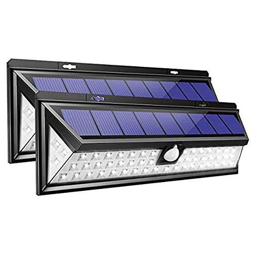 XINLEE Luz Solar Exterior 54 LED, Proyector Solar para jardín, Ángulo Amplio de 270 °, Lámpara Solar con 3 Modos, Impermeable, Proporcione hasta 12 Horas de iluminación (2 Piezas)