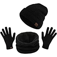 TAGVO Winter Beanie Hat Scarf Set Super Soft Fleece Inner Lining Great Warm, Stretchy Knit Beanie Cap Elastic Neck Warmer Snugly Fit for Men Women Ladies Girls Boys Adults Kids