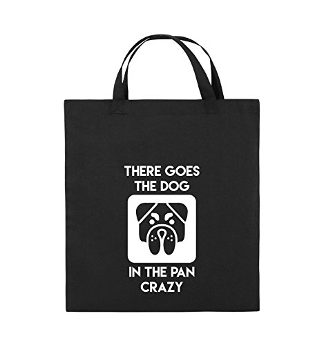 Comedy Bags - THERE GOES THE DOG IN THE PAN CRAZY - Jutebeutel - kurze Henkel - 38x42cm - Farbe: Schwarz / Silber Schwarz / Weiss