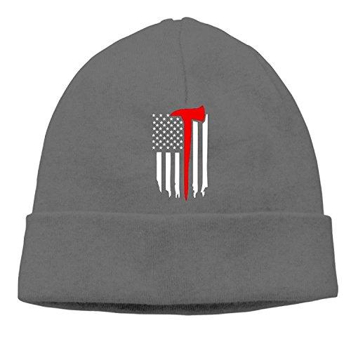 UUOnly Dünne rote Linie Feuerwehrmann-Axt-Männer tägliche Feste Strickmütze, die Ihren Kopf perfekt dehnt