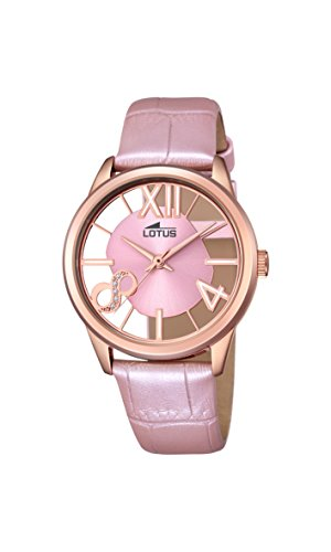 Lotus Women's Quartz Watch with Rose Gold Dial Analogue Display and Pink Leather Strap 18306/1