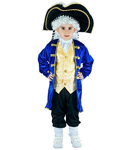 Sea Hare Jungen Blau Mittelalter Edel Piraten Piraten Prinz Kostüm (S :4-6 - Kind Mittelalter Prinzen Kostüm