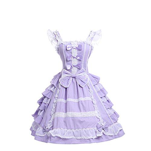 Damen lolita kleider süß ärmellose Lace Bow Dress prinzessin kostuem Maid Cosplay Kostüm Violett (Hand Maid Halloween Kostüme)
