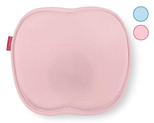 HALLO WELT Baby-Kissen Memory-Schaum I Mit Mulde Gegen Plattkopf I Waschbarer Baumwolle Bezug I Baby Kopfkissen für eine natürliche Kopfform - peachy Hallo Welt anti Plattkopf Kissen (rosa) -