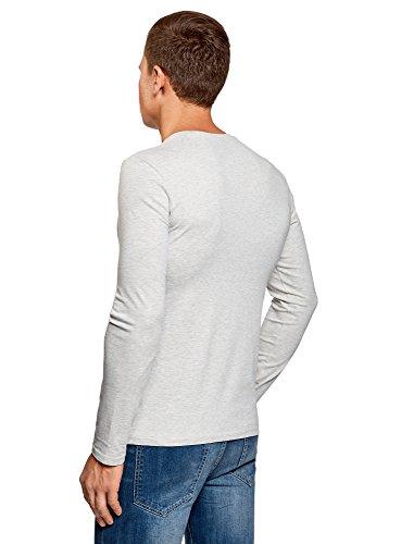 oodji Ultra Herren Tagless Langarmshirt mit V-Ausschnitt Grau (1200M)