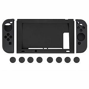 booEy 11in1 Set Silikon Schutzhüllen und Schutzkappen für Nintendo Switch in Schwarz