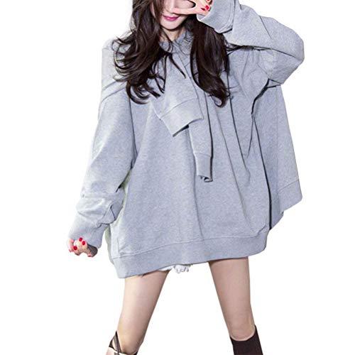 YUFAA Frauen Langarm Rundhalsausschnitt Gefälschte Zwei Stücke Fleece-Pullover Hoodie mit Schal Strickpullis (Color : Gray, Size : S) - Frauen Hoodie-schal
