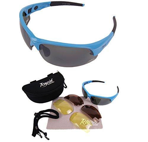 Preisvergleich Produktbild Edge Blau GOLFBRILLEN mit Wechselgläser (grünen verspigelt,  braun polarisiert,  gelbes Licht-Verbesserung) - Sport Sonnenbrille für GOLF. UV schutz 400. Für Herren und Damen