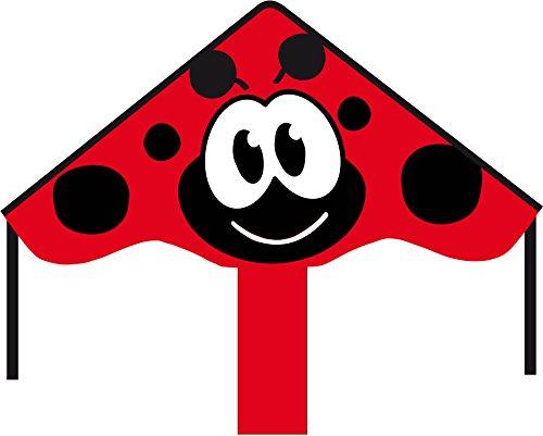 Ecoline 102144 - Simple Flyer Ladybug 85cm Kinderdrachen Einleiner, ab 5 Jahren, 42x85cm und 1.5m Drachenschwanz, inkl. 17kp Polyesterschnur 25m auf Griff, 2-5 Beaufort -