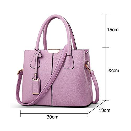 HeHe Damen PU Leder Handtaschen Damen Henkeltaschen Elegante Umhängetasche für Damen weibliche Schultertasche Lila