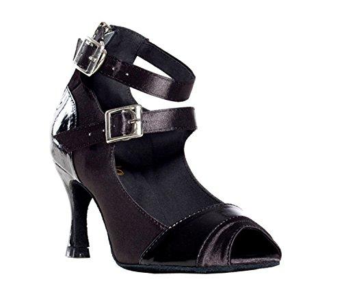 Minitoo Double sangle de cheville de femme en Satin pour mariage écoles de danse latine chaussures Noir