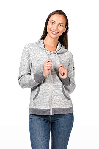 super.natural Warme Damen Fleece-Jacke, Mit Merinowolle, W COMFORT HOODIE, Größe: M, Farbe: Hellgrau Super Warme Jacke