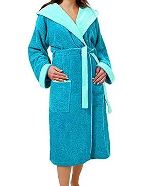 Bademantel Damen & Herren Lucca Saunamantel Frottee, Kapuzenbademantel aus Baumwolle wahlweise: blau, rot, grau...