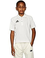 adidas Camiseta de Cricket Junior, Crema, 12 Años