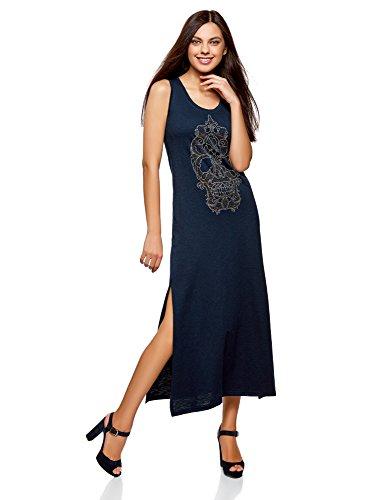 oodji Ultra Mujer Vestido Largo con Calavera de Pedrería, Azul, ES 34 / XXS