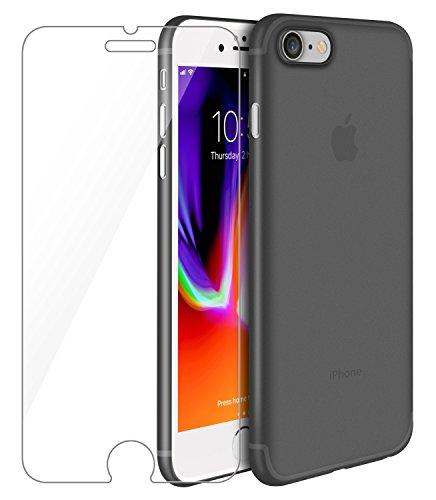 Cover iphone 7/ iphone 8 custodia, leathlux nero 0.35mm premium semi-transparent anti-graffio protettiva cover case + pellicola vetro temperato per apple iphone 7/ iphone 8