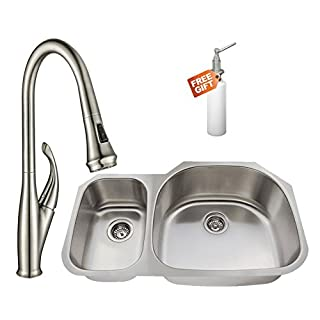 Westbrass U3148-07 Undermount Stainless Steel 30/70 Double Bowl Kitchen Sink Set with Faucet in Stainless Steel Finish (Strainers not Included) 31.5
