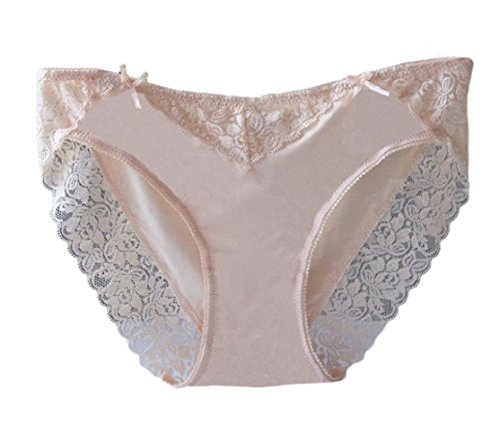 CuteRose Womens 3 Pack Floral Lace Over Waist Modal Lingerie Panties Apricot XS -