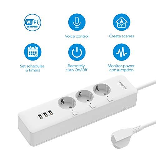 Ciabatta Multipresa Intelligente, Koogeek Multipresa Wifi, 3 Prese 3 Porte USB, Compatibile con HomeKit/Alexa/Google Assistant/IFTTT, APP Controllo Vocale Remoto per Android IOS, 3000W 12A