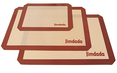 Jimdada Silicone Baking Mats, Set of 3 Non Stick Baking Tray Liners 2 Large (42 x 29.5 cm) and 1 Small (30x 20 cm) Baking Accessories for Baking Trays/Cookware/Oven