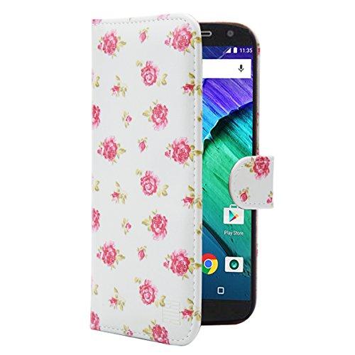 32nd Portafoglio Floreale Custodia PU Pelle per Apple iPhone 7 & Apple iPhone 8, Flip Case con Disegni di Fiori e Chiusura Magnetica - Fiore di Ciliegio Floral Portafoglio - Vintage Rosa Mint