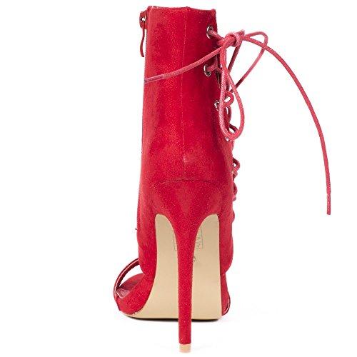 Scarpe Sandali Laiana Rosso Ideale Effetto In Camoscio Con Giogo 1P6qS