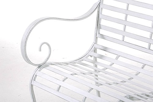 CLP Gartenbank ROY im Landhausstil, aus lackiertem Eisen, 129 x 69 cm – aus bis zu 6 Farben wählen Antik Weiß - 5