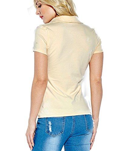 ZANZEA Damen Spitze mit Boot-Ausschnitt Langarm Party Club Slim Bluse Hemd T-Shirt Beige2