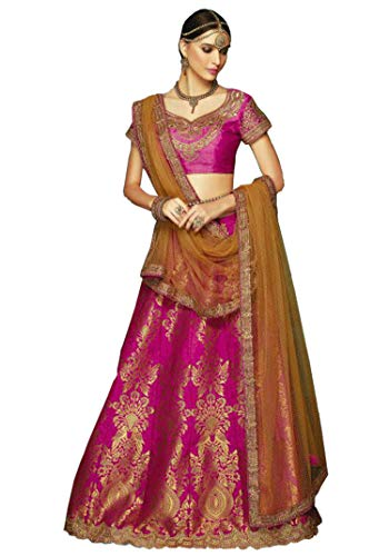 b2113e1c1215c3 Lehenga Choli for Women - Indian Pakistani Readymade Banarasi Silk Lehenga  with Pink Blouse