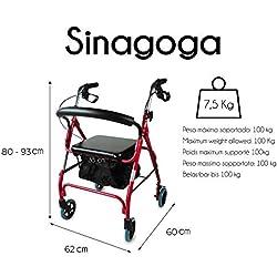 Déambulateur à 4 roues pour personnes âgées | Avec freins aux poignées, hauteur réglable, pliant, panier, dossier et siège | Mod. Sinagoga | Mobiclinic