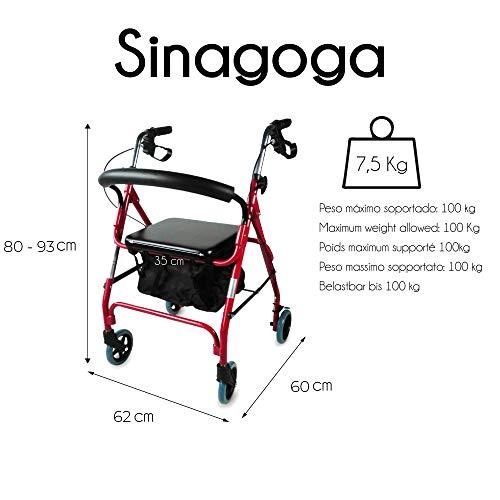 Andador ancianos 4 ruedas | Para mayores | Regulable