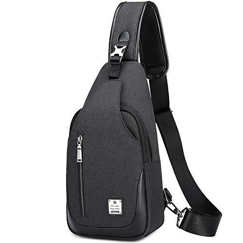 HASAGEI Brusttasche Sling Bag Schultertasche für Damen und Herren Crossbody Bag Umhängetasche Rucksack (Schwarz, S)