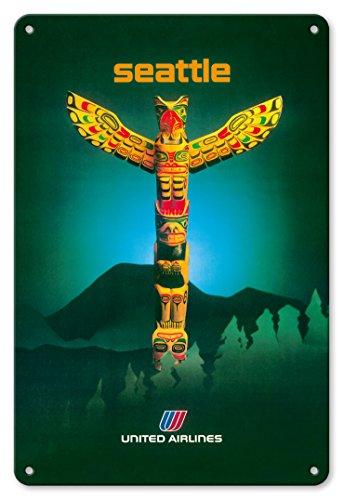 Pacifica Island Art 22cm x 30cm Vintage Metallschild - Seattle, Washington - United Airlines - Totem Pfahl - Vintage Retro Fluggesellschaft Reise Plakat c.1982 -