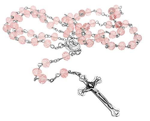 Leichte rosa Kristall Perlen Rosenkranz katholische Halskette Heiligen Boden Medaille & Kruzifix