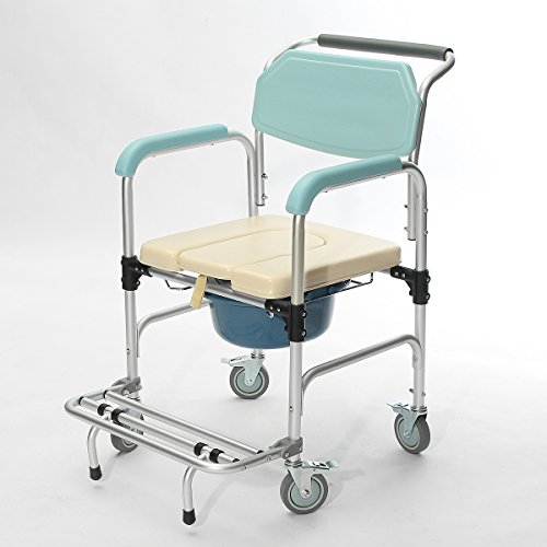 Rishil World 3-in-1 Commode Wheelchair Bedside Toilet & Shower Seat Bathroom Rolling Chair Elder Folding Chair