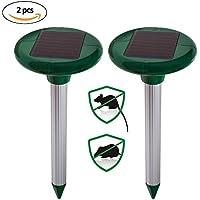 Juego de 2Ultra Sonic Solar–Ahuyentador de topos, topo combatir, campañoles para césped Jardín Patio Control de Plagas
