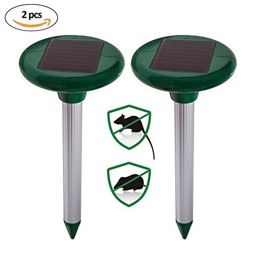 2er Set Ultrasonic Solar Maulwurfabwehr, Maulwurfschreck, Maulwurfbekämpfung, Wühlmausschreck für Rasen Garten Hof Schädlingsbekämpfung