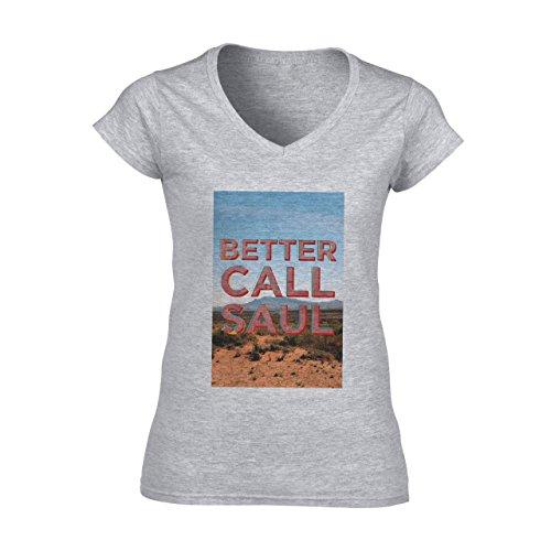 Better Call Saul Poster Nature View Damen V-Neck T-Shirt Grau