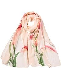 f5fbdef32555 AIMEE7 Foulard Femme en Mousseline de Soie Mode Imprimé Élégant Soirée  Longue Écharpe