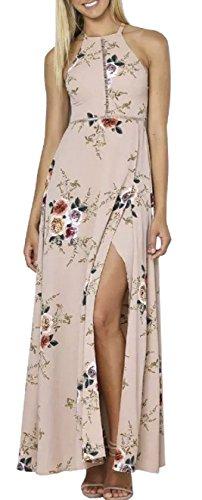 alsband Ärmellos Blumendruck Maxi Kleid Party Strandkleid Sommer Elegant Apricot l (Kleid Von China)