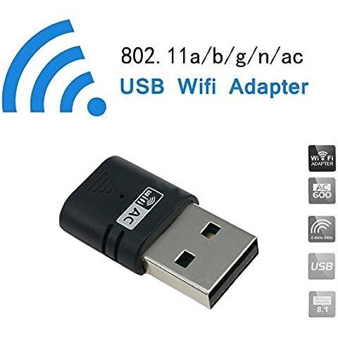 DHMXDC - Adaptador de red inalámbrica USB, banda dual, 600 Mbps, 2,4 GHz, 150 Mbps, 5 GHz, 433 Mbps, 600Mbps